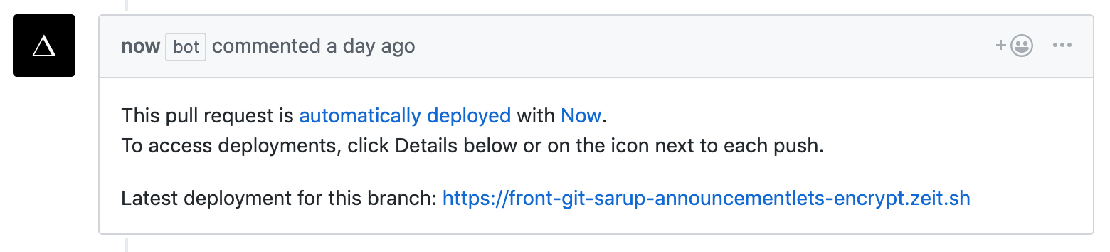 As you introduce new changes to the branch, the deployment URL doesn't change and reflects all the updates.