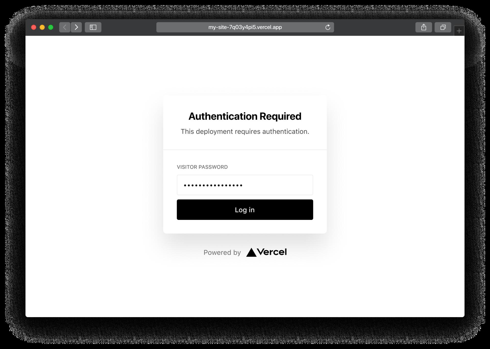 A Deployment hidden behind Password Protection.