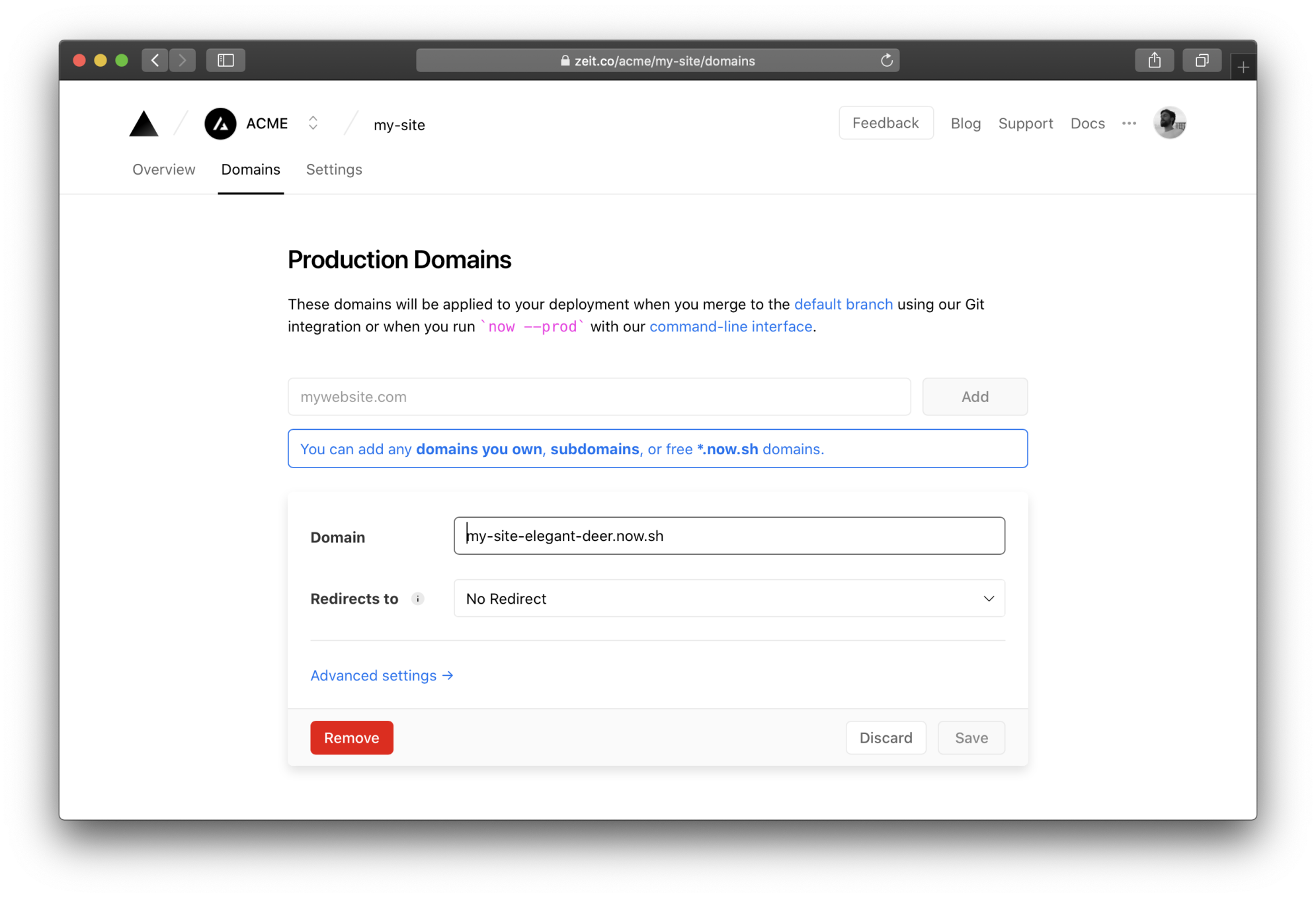 You can edit the default production domain or add a custom domain.