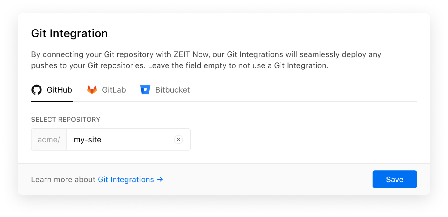 """The new """"Git Integration"""" field in the project settings."""