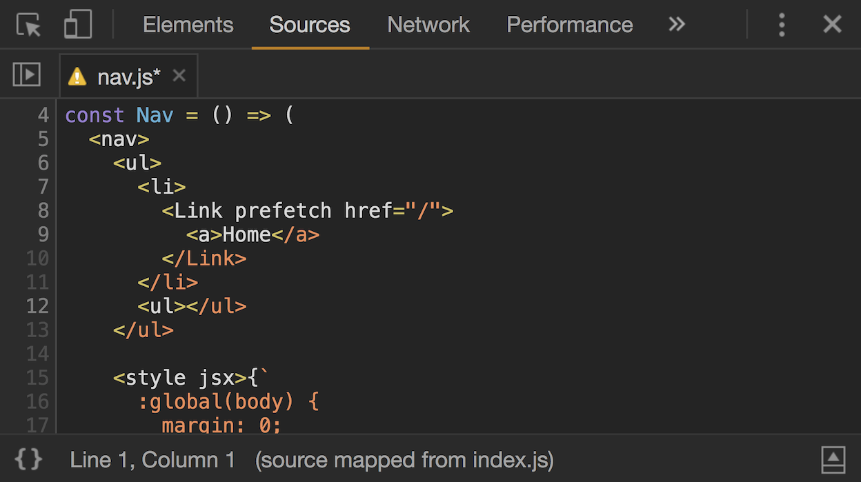 The source code is shown in the sources panel