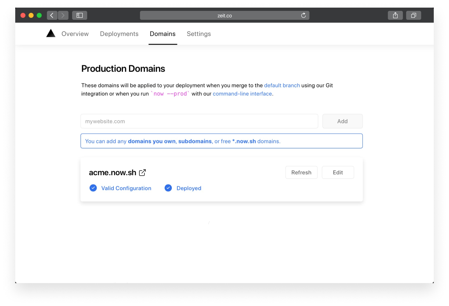 A valid production domain