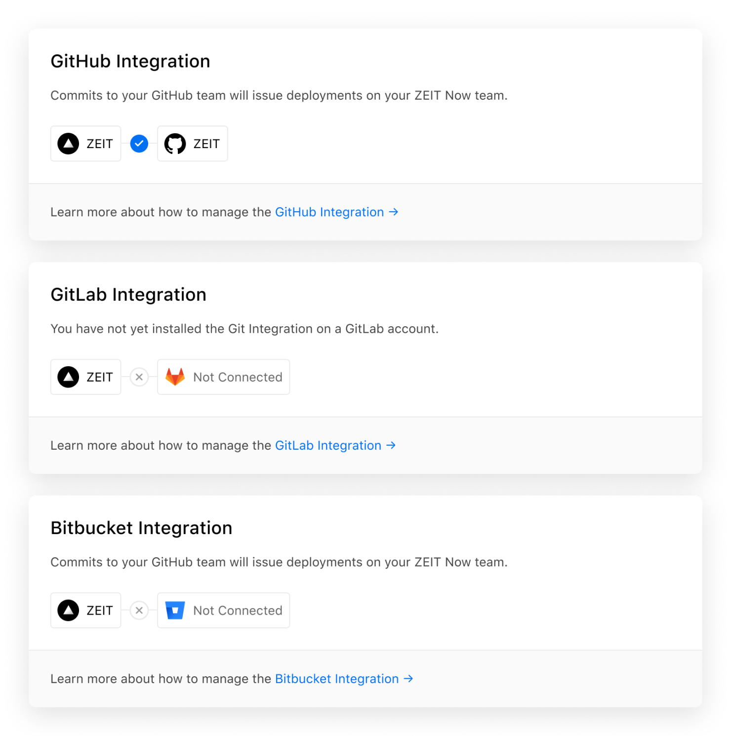 """The refined """"Git Integrations"""" settings page for personal accounts and teams."""