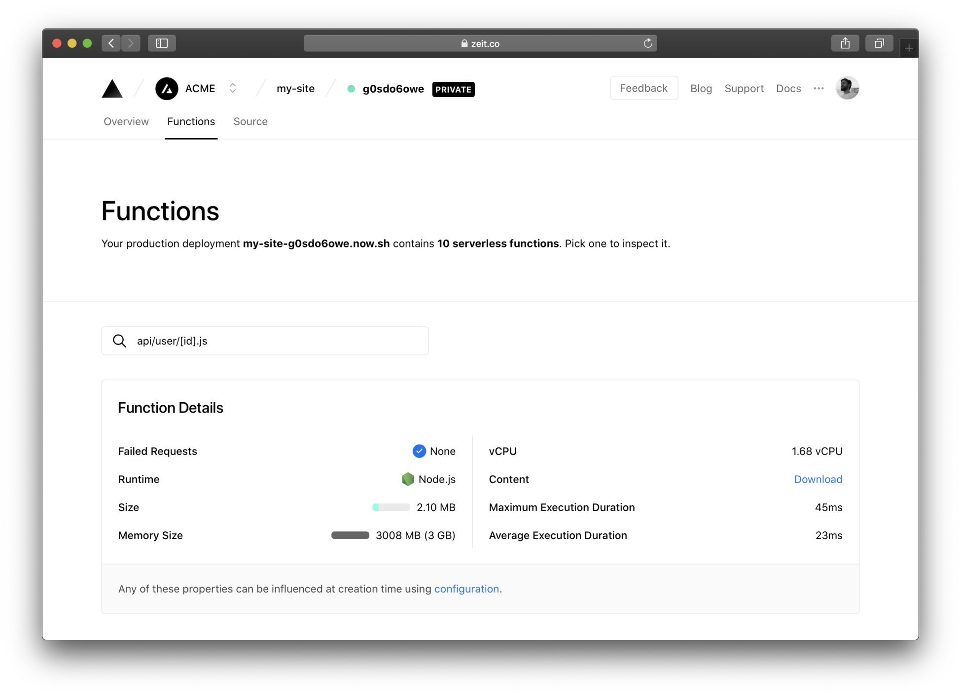 The most important details about your Serverless Functions, all at one glance.