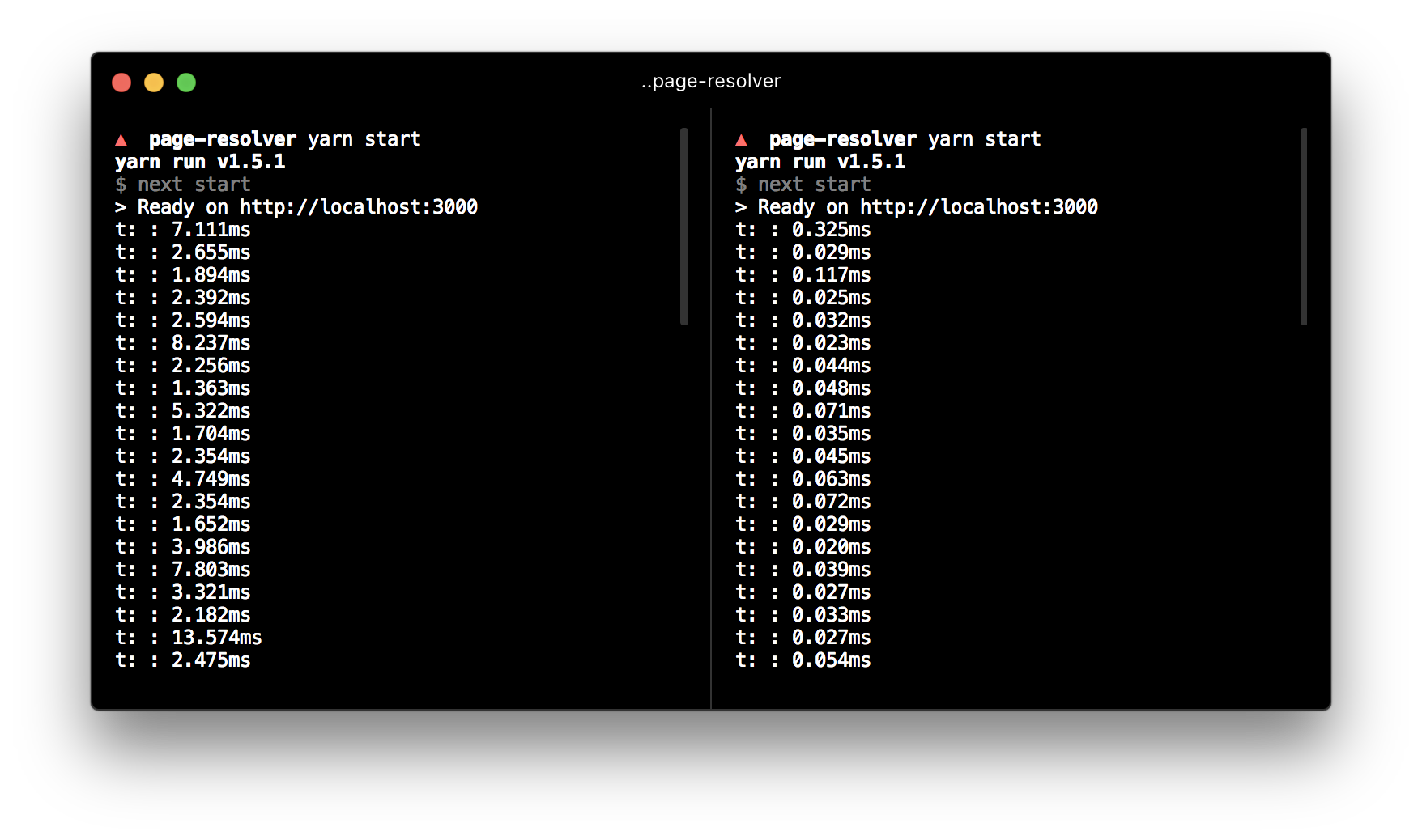 Page resolution shown per request. Left is Next.js 5.0, right is Next.js 5.1