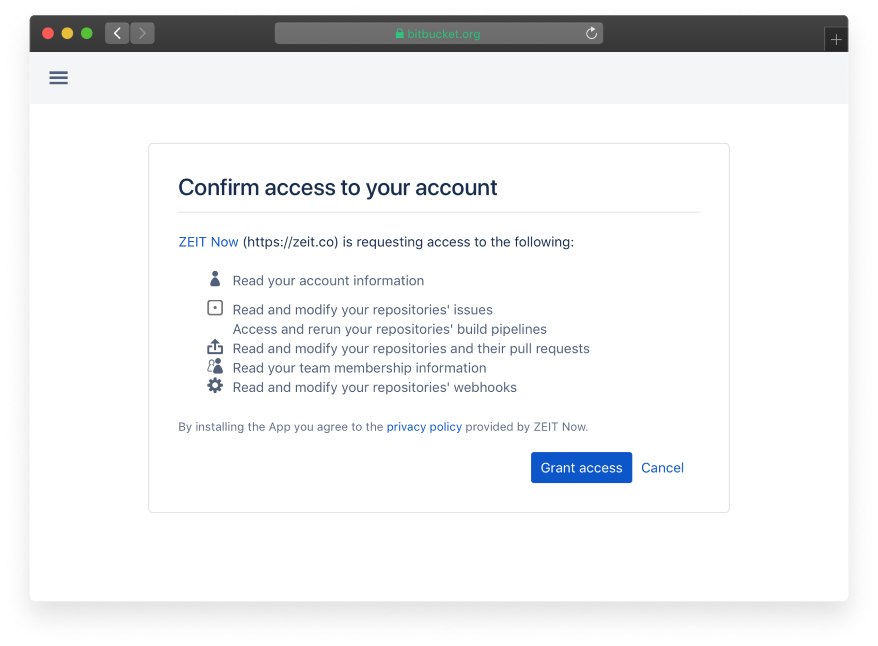 """Click """"Grant Access"""" to complete the Bitbucket connection process"""