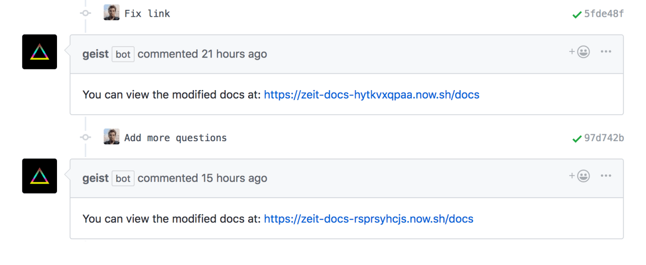 Every time a change happens inside a PR our bot automatically deploys it