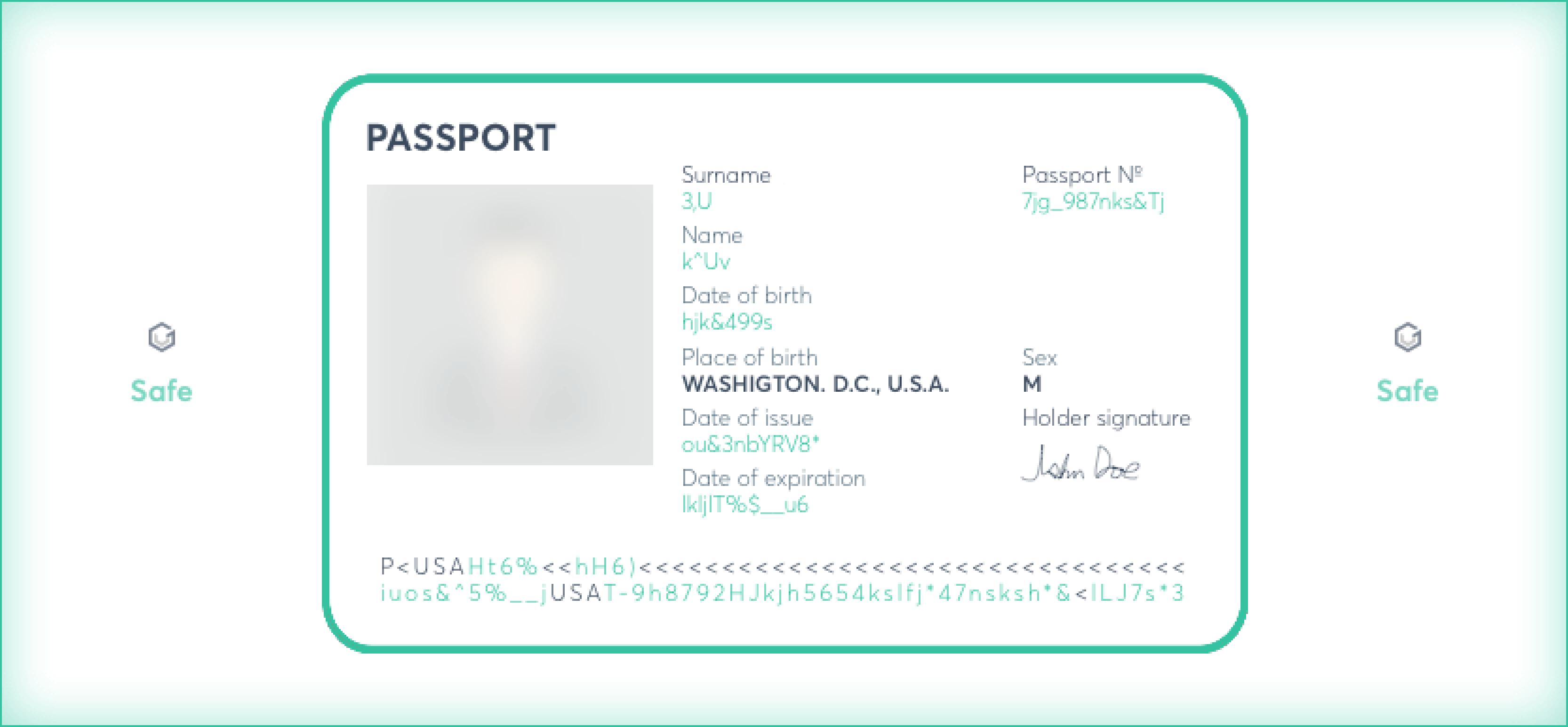 Redacted passport