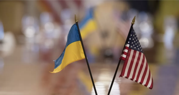 Ukraine and USA Flag