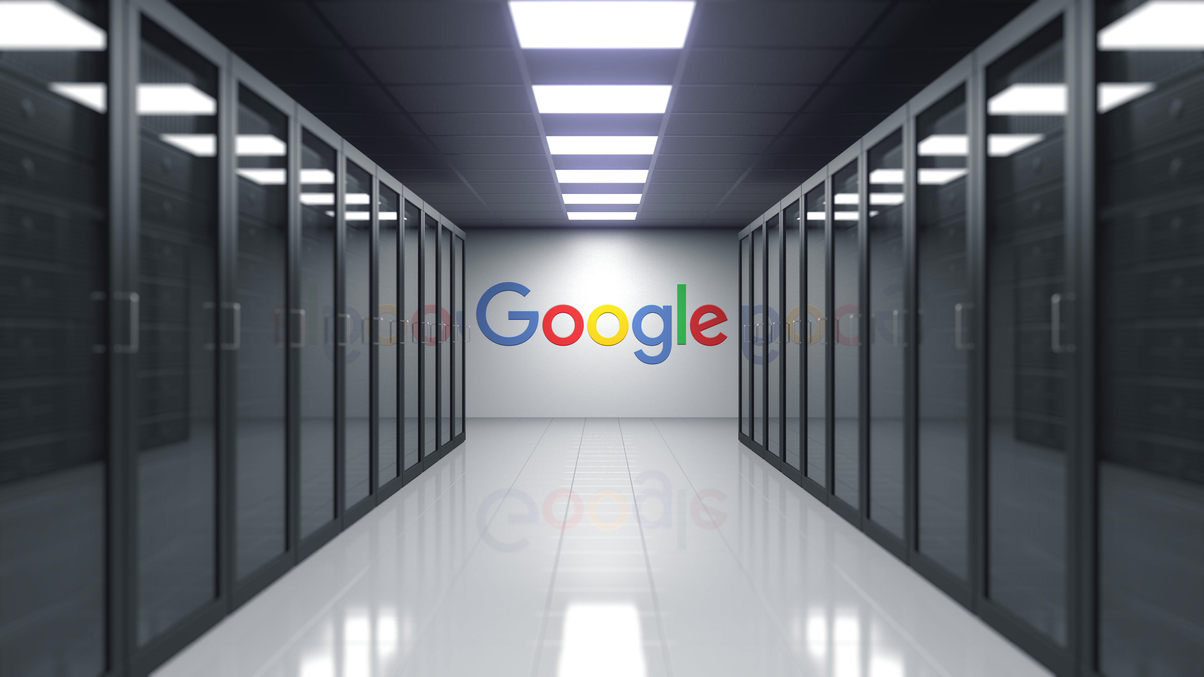 11692366 motionelements google logo on the wall of the server room editorial 3d 0005