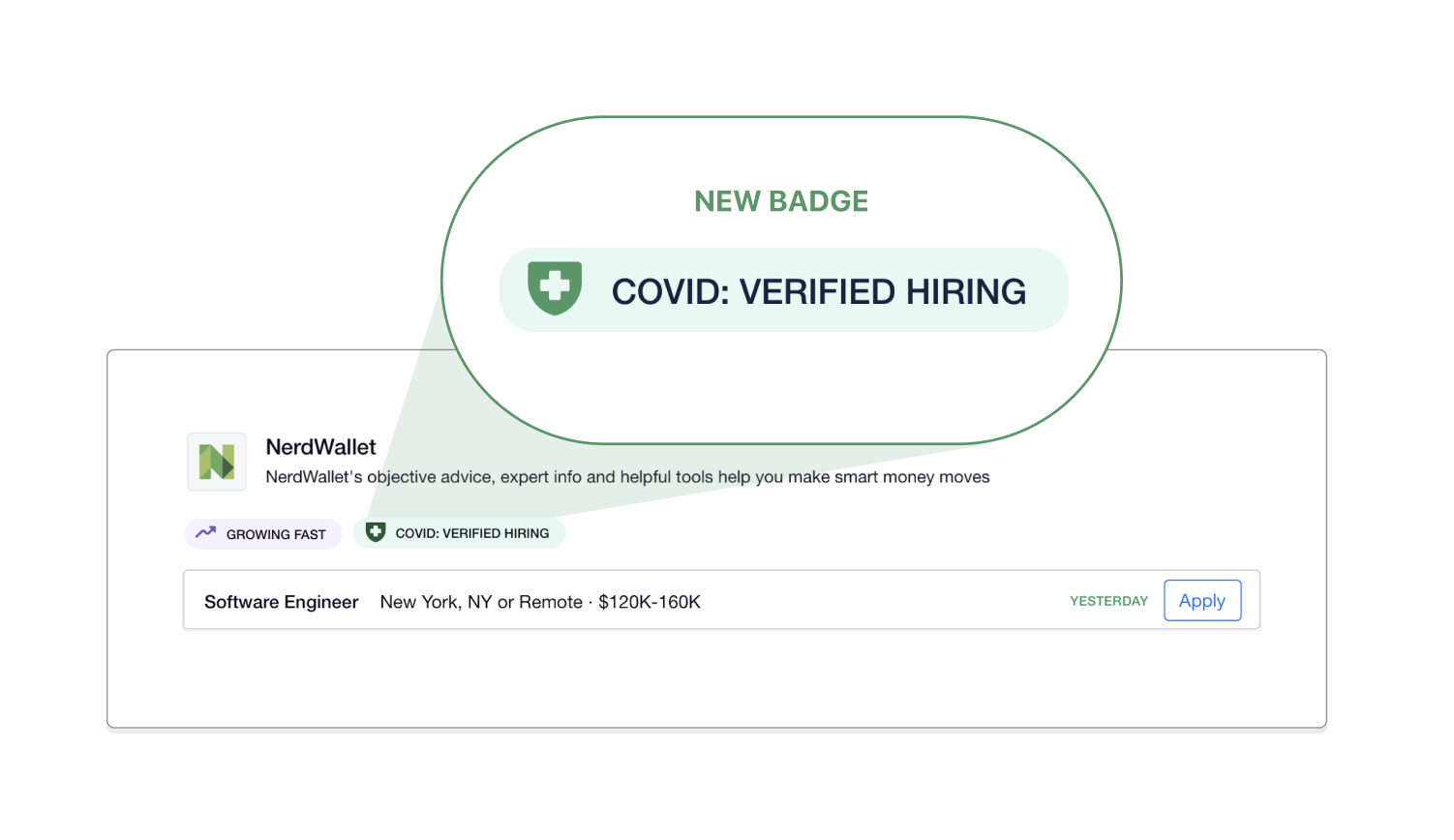COVID: Verified Hiring badge