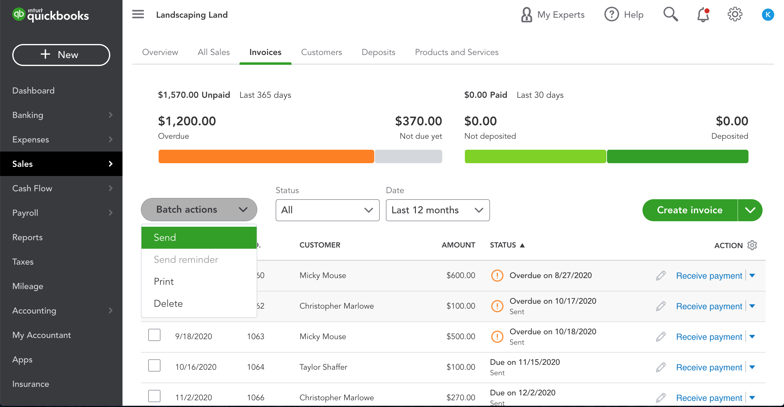QuickBooks Online Invoice Batch Actions