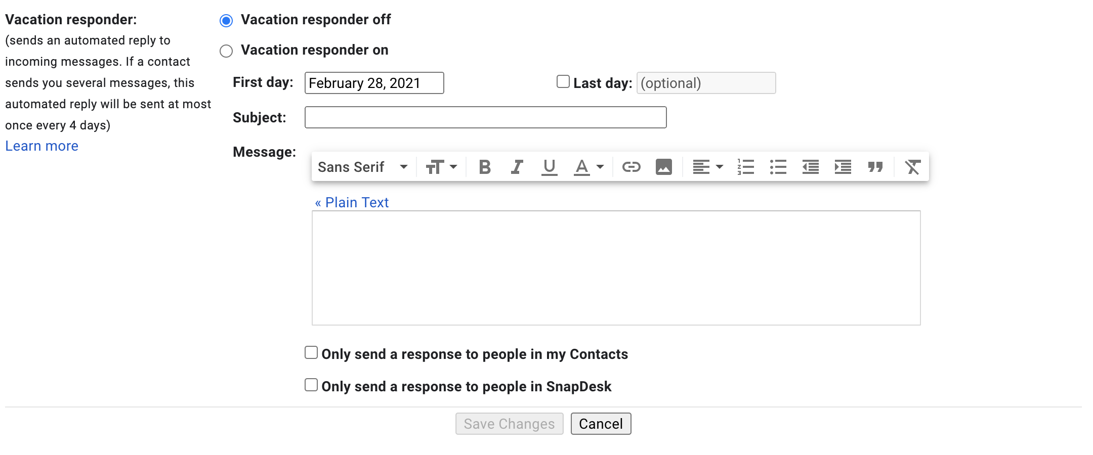 Gmail Out of Office Message Vacation Responder