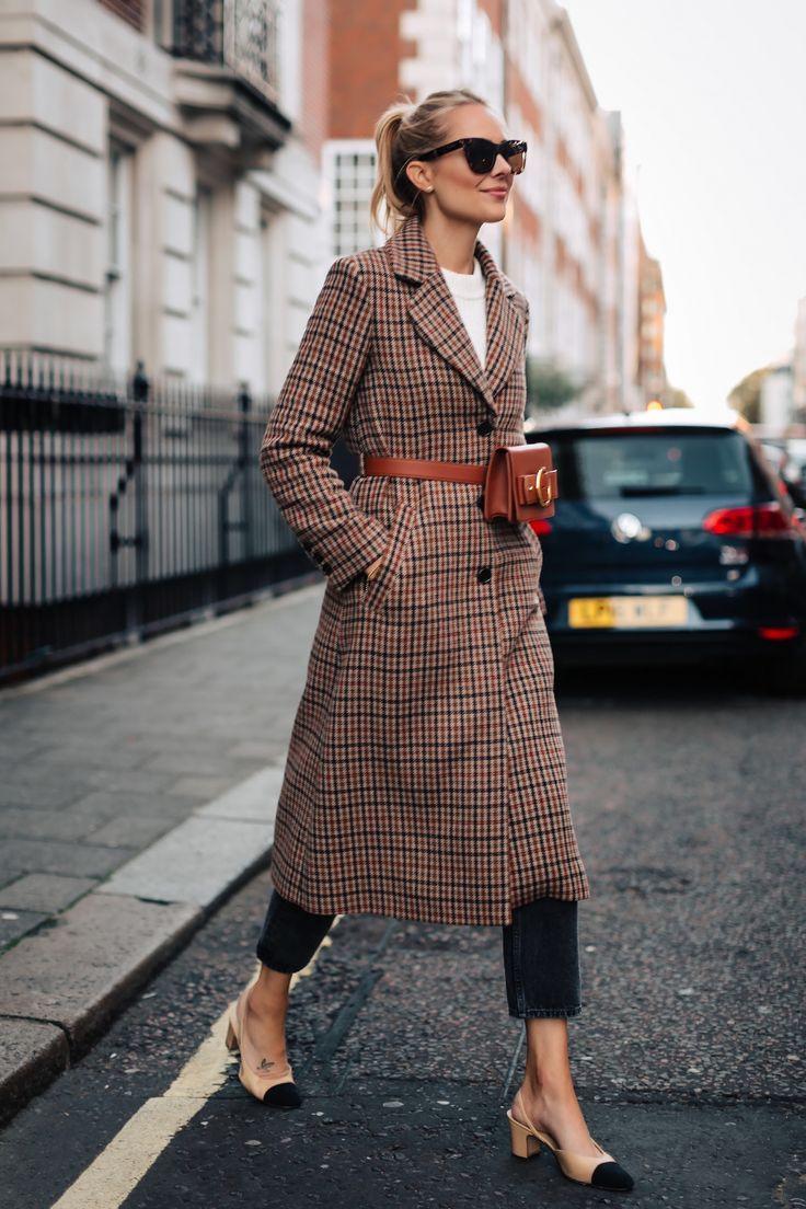 Blonde Woman Wearing Plaid Wool Coat Black Ankle Jeans Chanel Slingbacks Parisa Wang Brown Belt Bag Fashion Jackson San Dieg