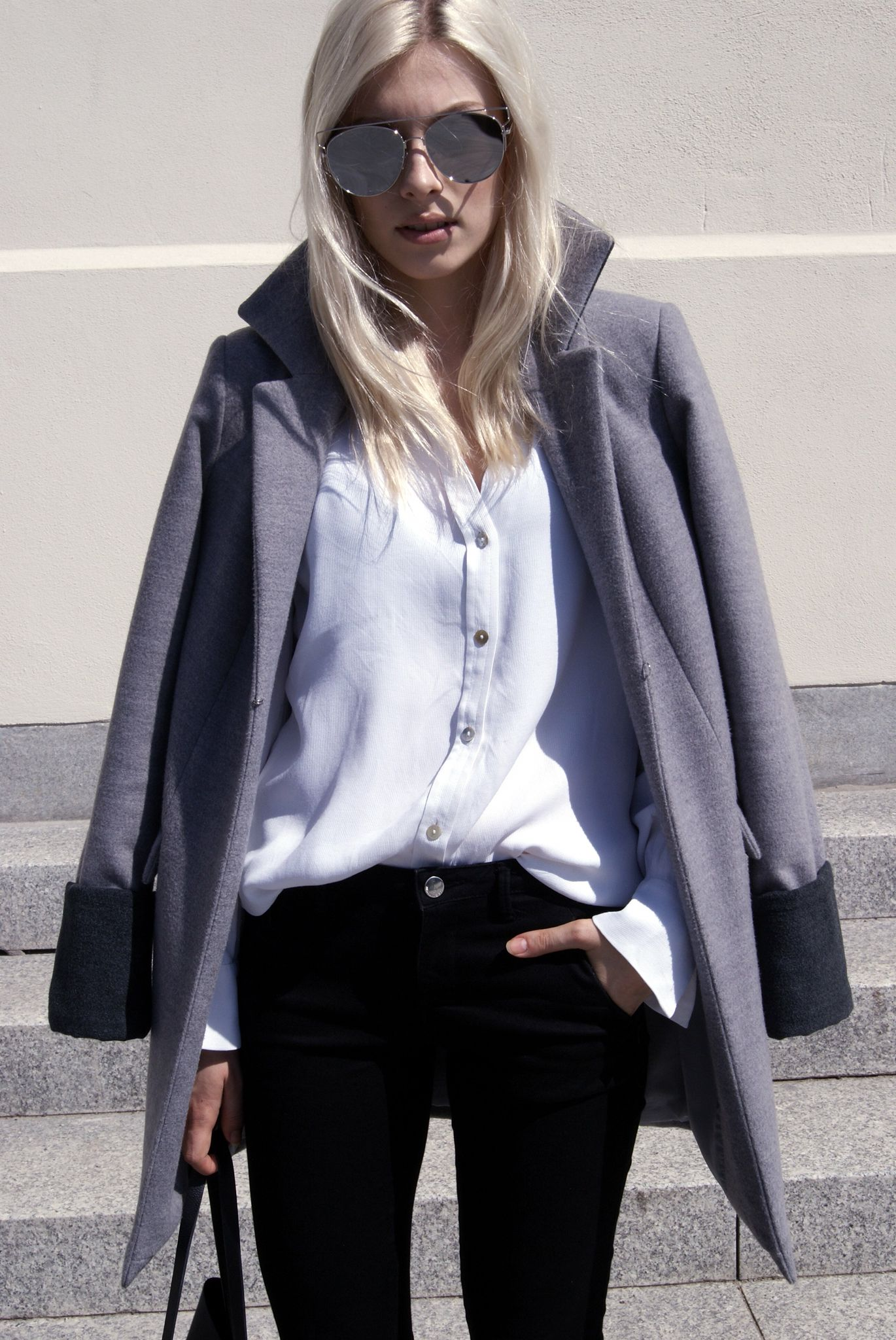 #coat #grey #black #trousers #sunglasses #white #hair #boots #jgprestige #ss16 #collection #outfit #blog #blogger #look #fashion #street #style #biznes #woman #sun #blond #hair #bag #boots #architecture