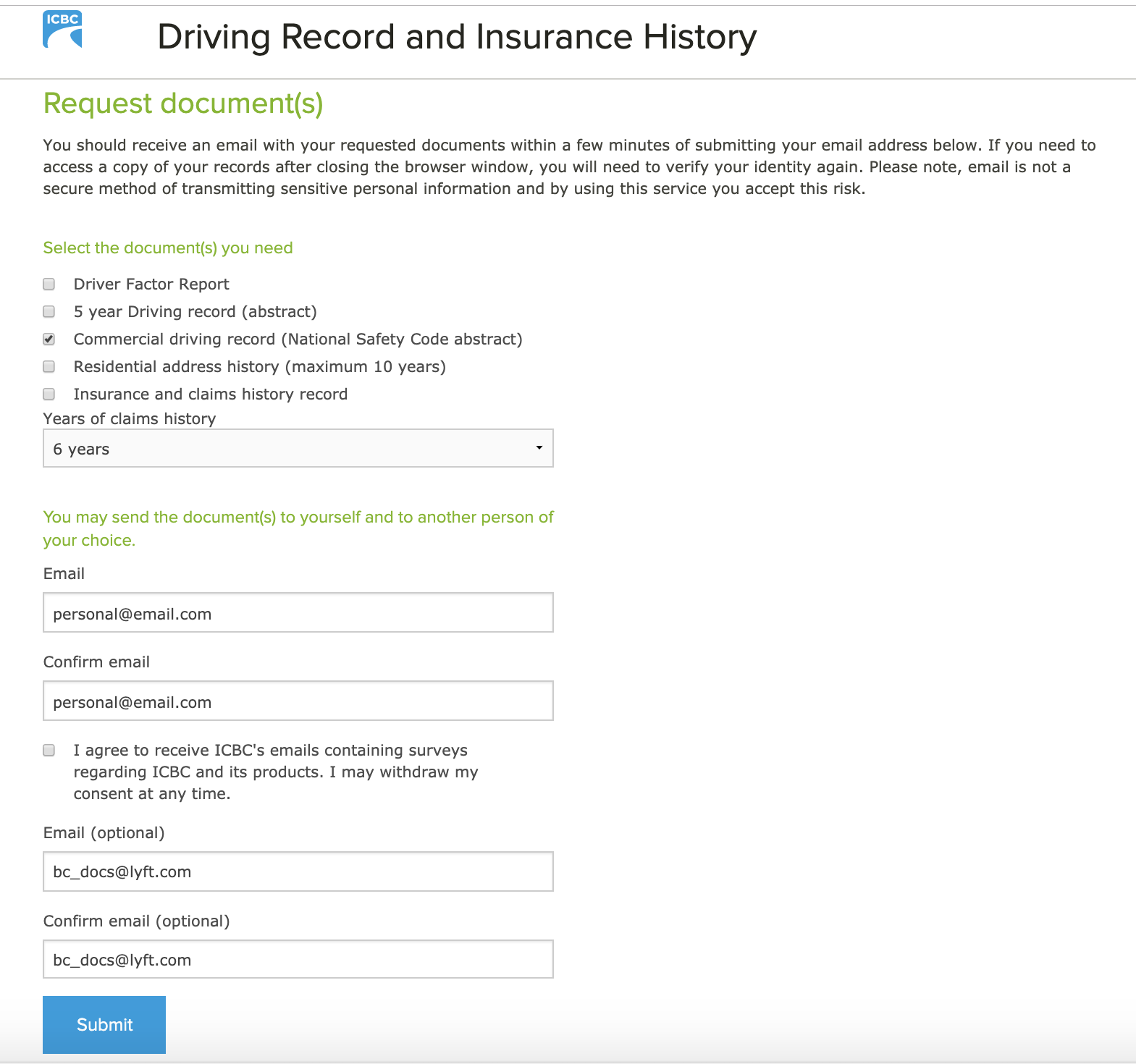 example icbc driving record request form