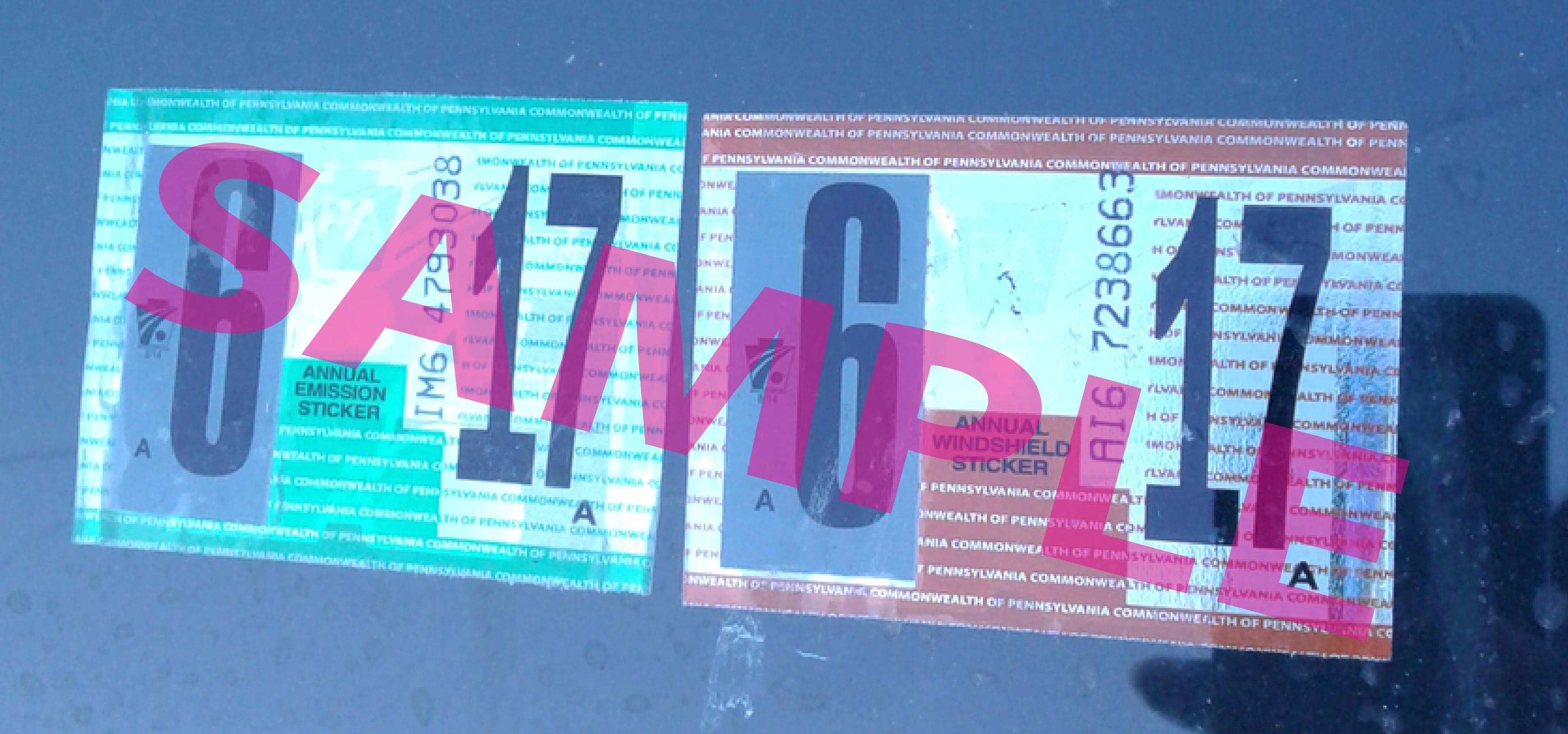 Example PennDOT sticker 2