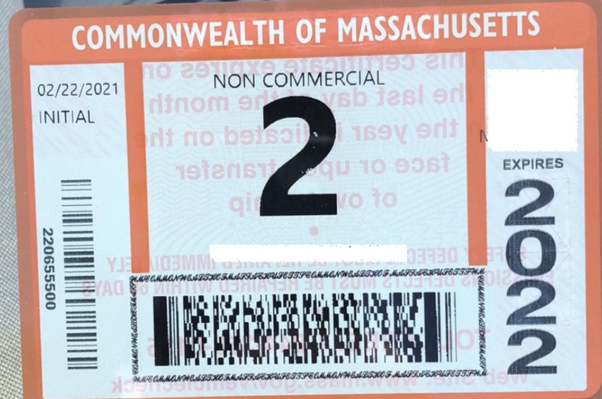 Cette image est utilisée comme exemple pour les chauffeurs du MA cherchant à obtenir un autocollant d'inspection de l'État.