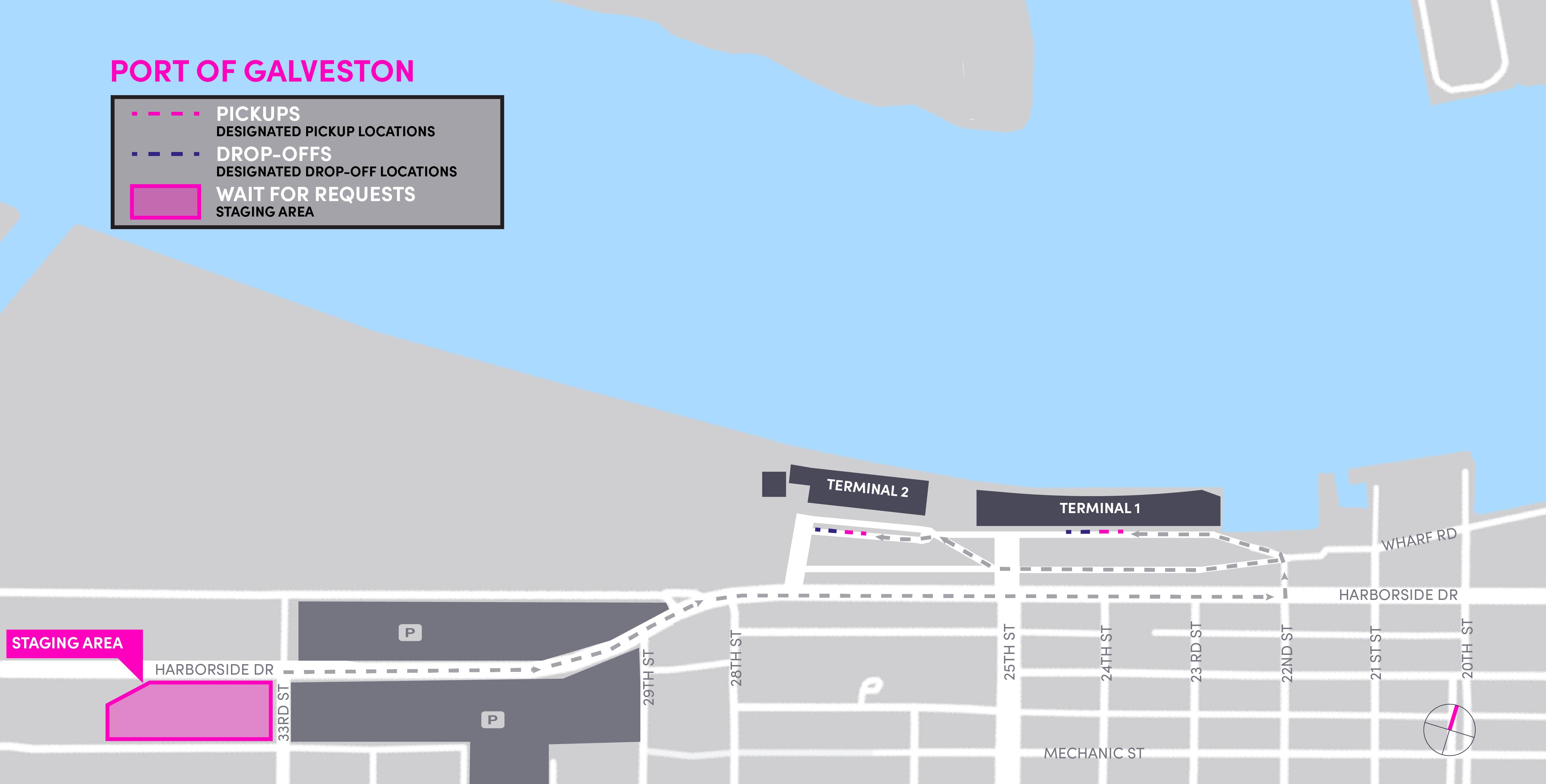 Mapa do Porto de Galveston