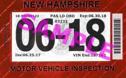 Exemple d'autocollant d'inspection du NewHampshire