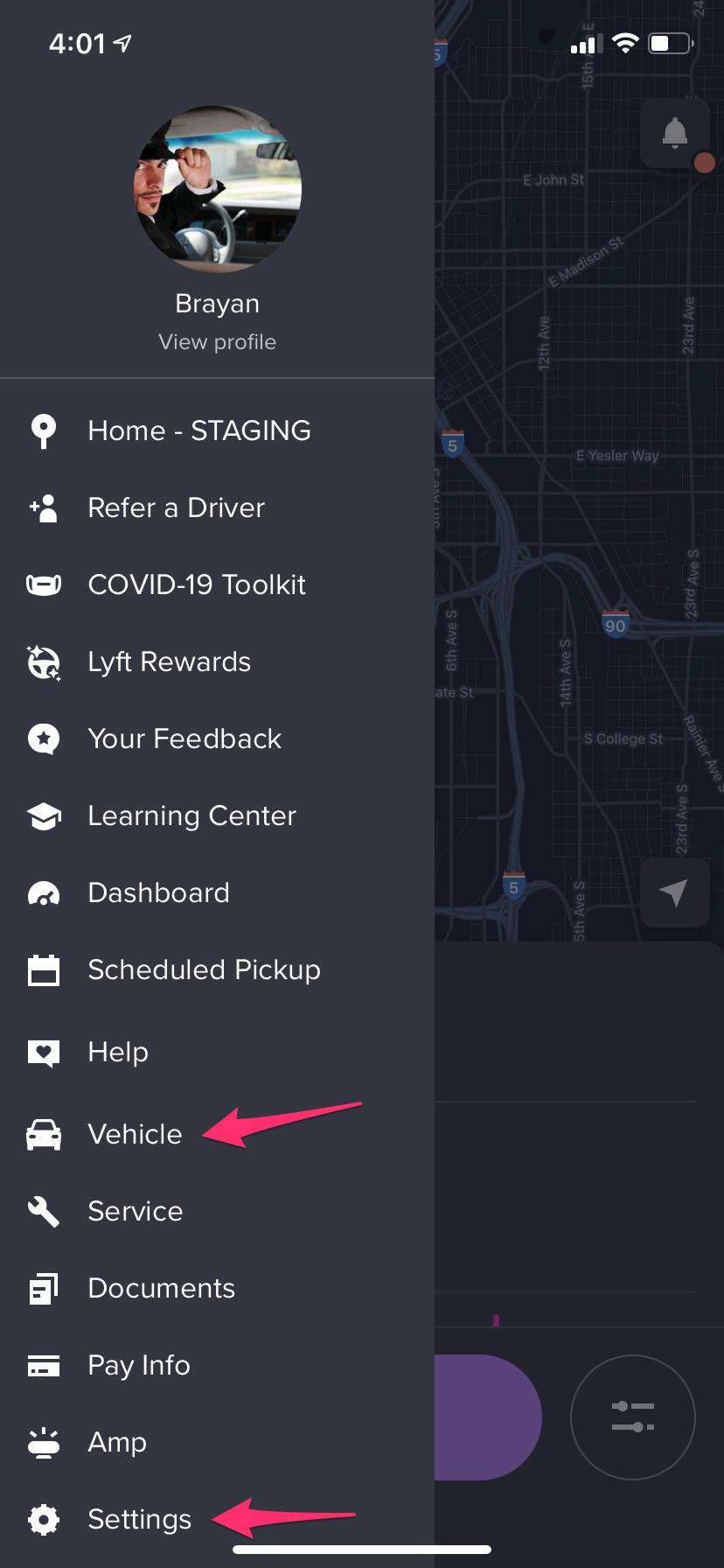Vue des options du menu de l'appli Chauffeur.