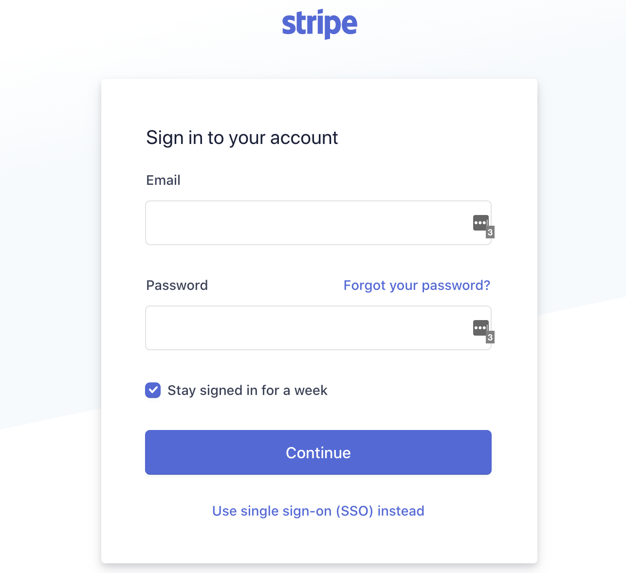 Log in to Stripe account