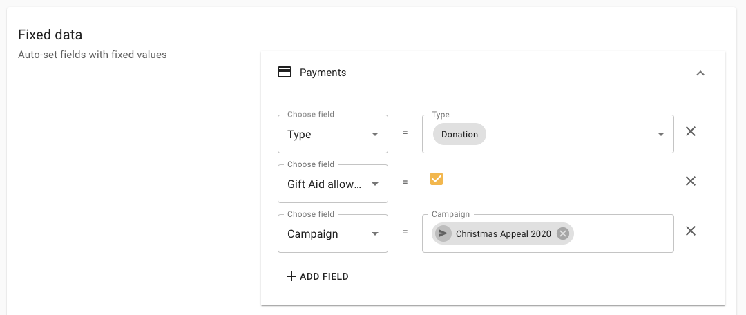 Campaign fixed data on donation forms