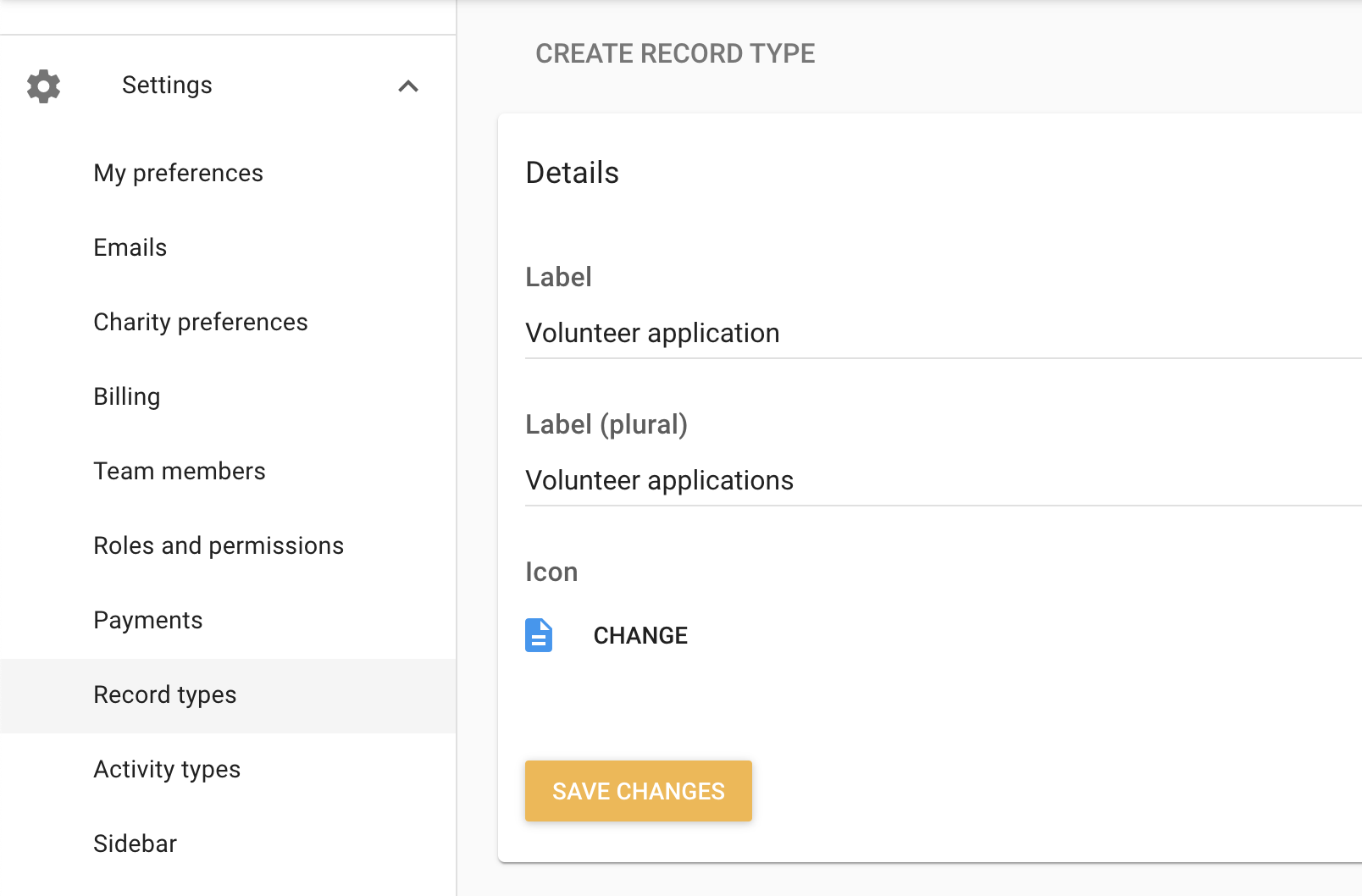 Create new volunteer application record