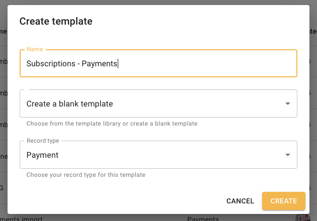 Subscription payments template