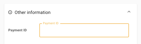 Payment ID field