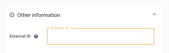 External ID field