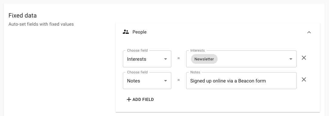 Signup form fixed data