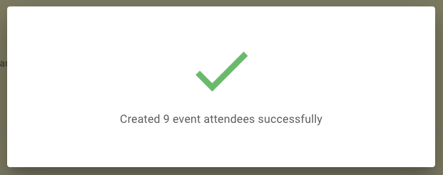 Successfully created event attendees