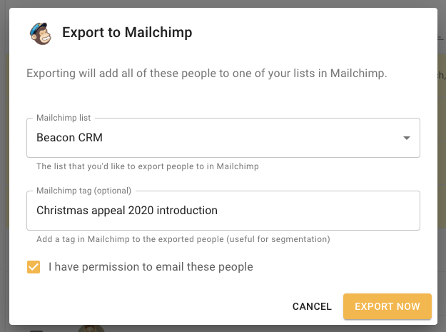 Campaoign export to mailchimp