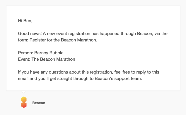 Email notification of event registration