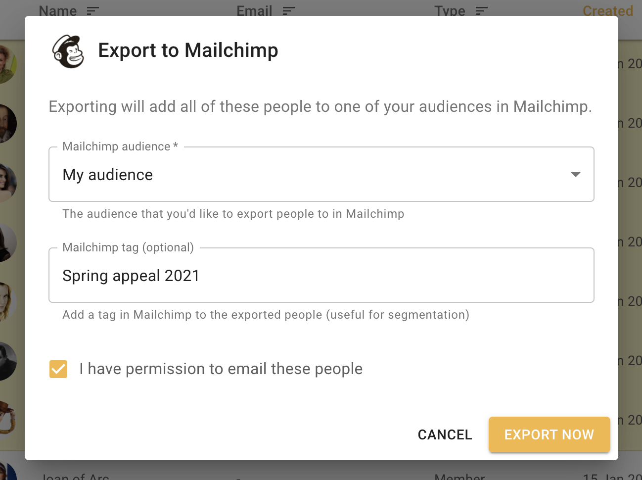 Export to Mailchimp audience