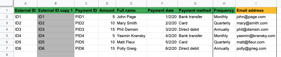 Recurring payments spreadsheet