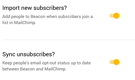 MailChimp app settings