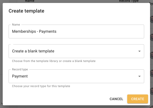 Memberships - Payments import template