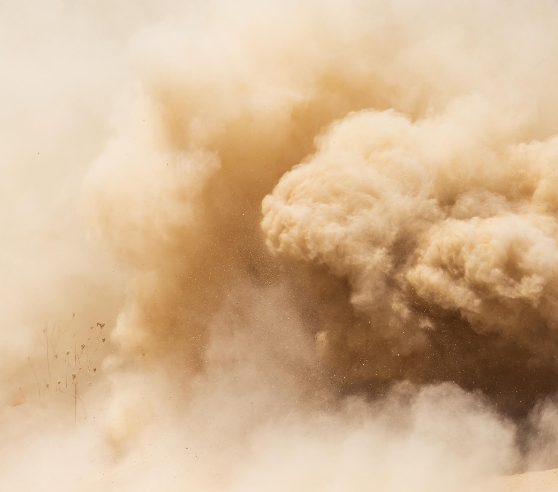 Clouds of dust and dirt rolling through the air.