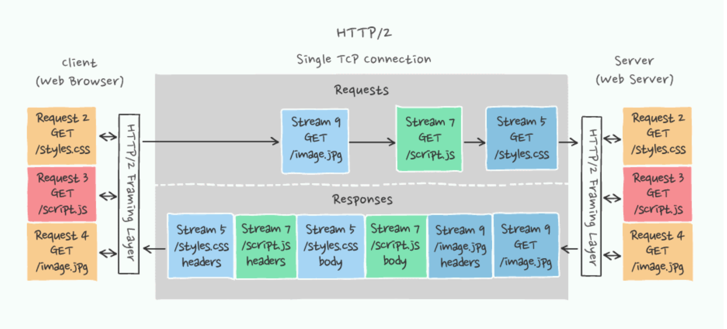 HTTP/2 client-server over a single TCP connection