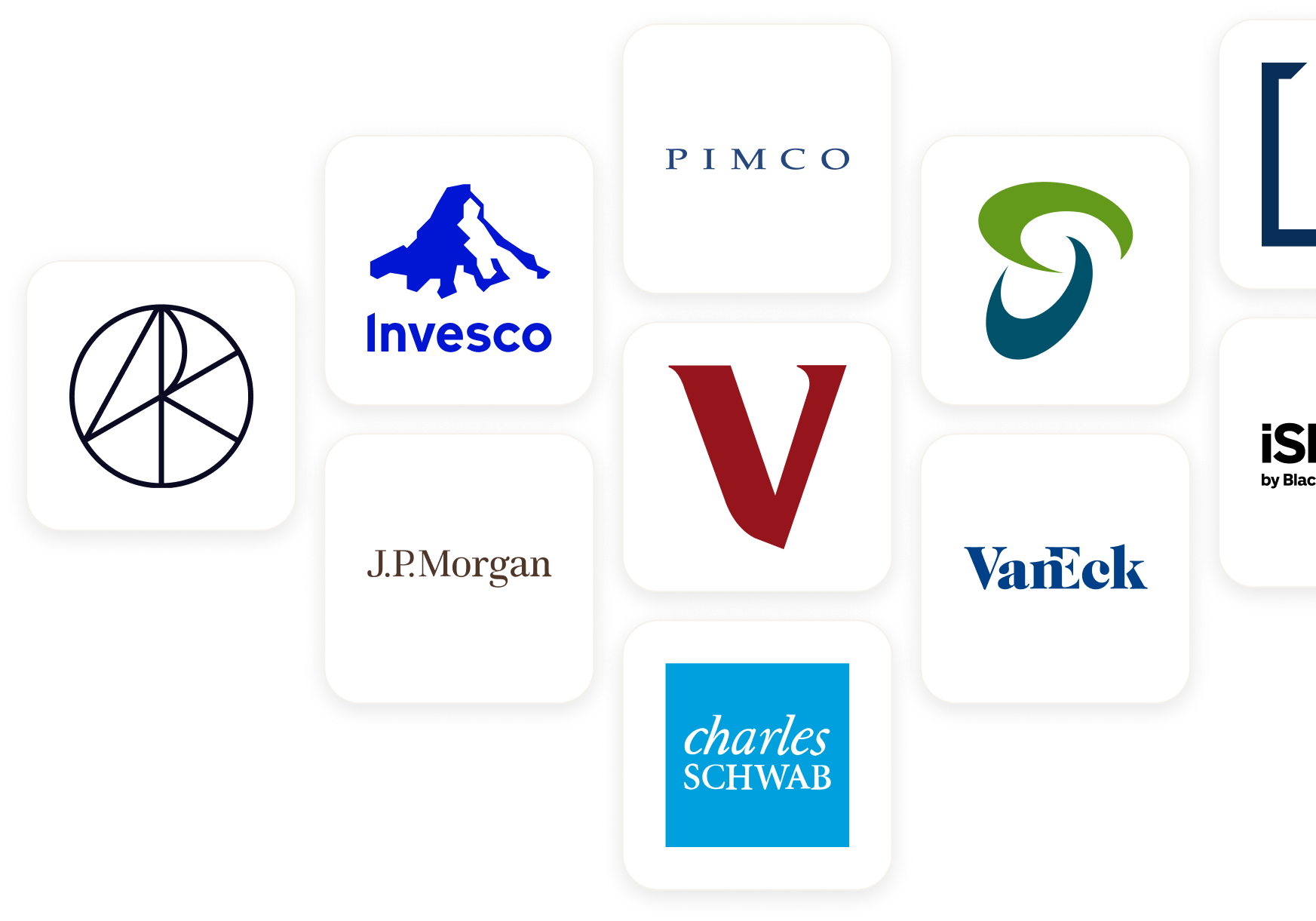 Cluster of US exchange-traded fund (ETF) logos.