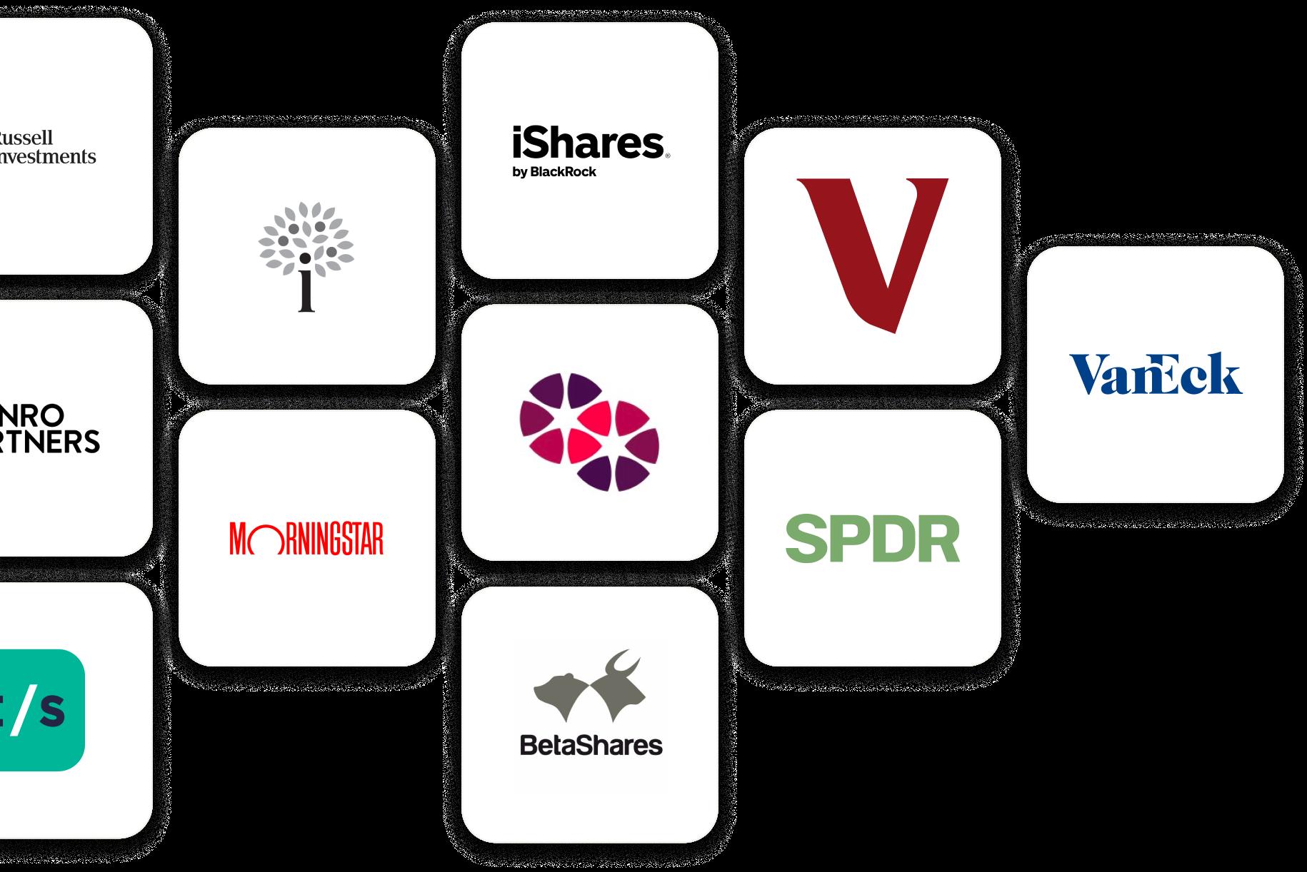 Cluster of Australian exchange-traded fund (ETF) logos.