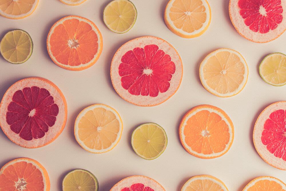 Thin slices of citrus fruit.