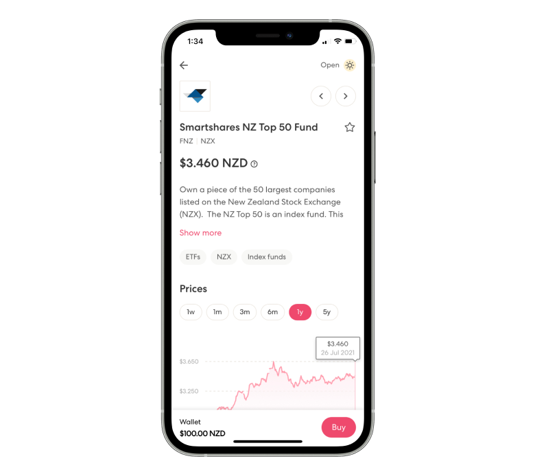 Smartshares NZ Top 50 fund page in the Sharesies app.