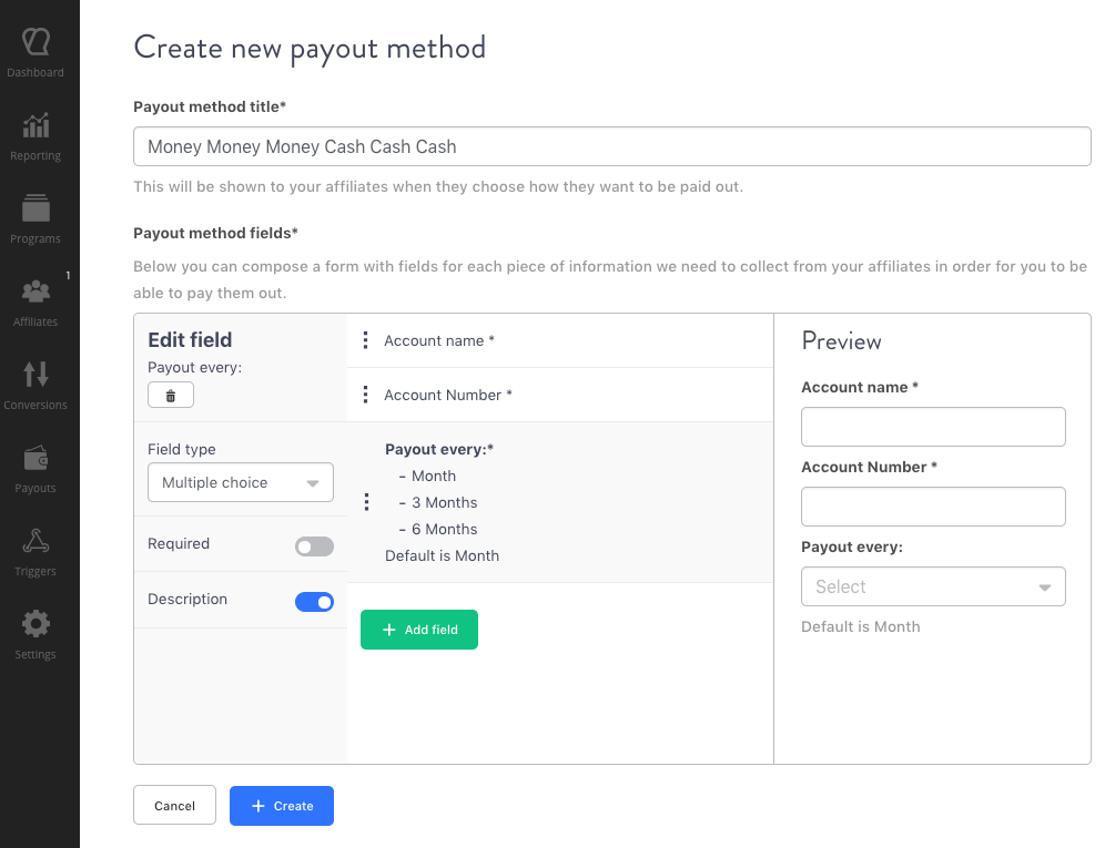 Create payout method Tapfiliate