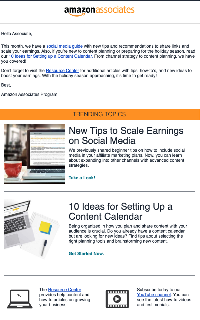 Affiliate Newsletter example