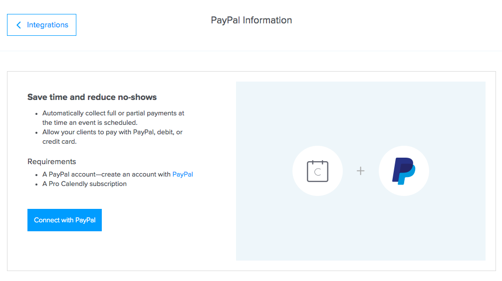 Calendly and PayPal paypal pay pal payment integration account subscription