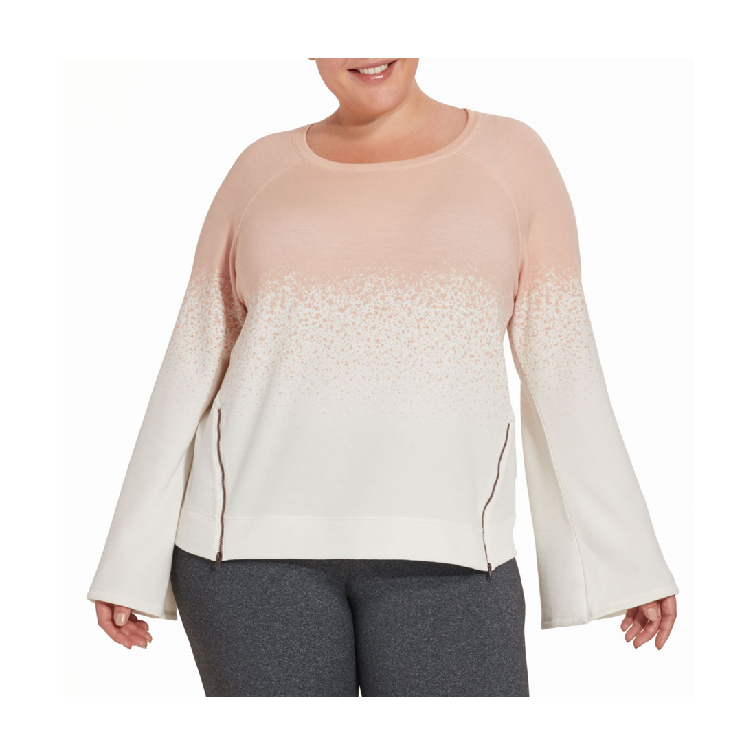 CALIA by Carrie Underwood Women's Plus Size Effortless Printed Zipper Sweatshirt