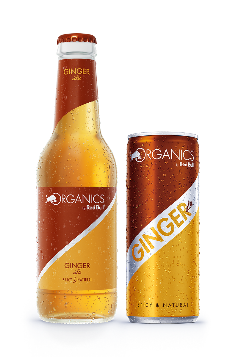 RedBull Organics Ginger Ale Can and Bottle